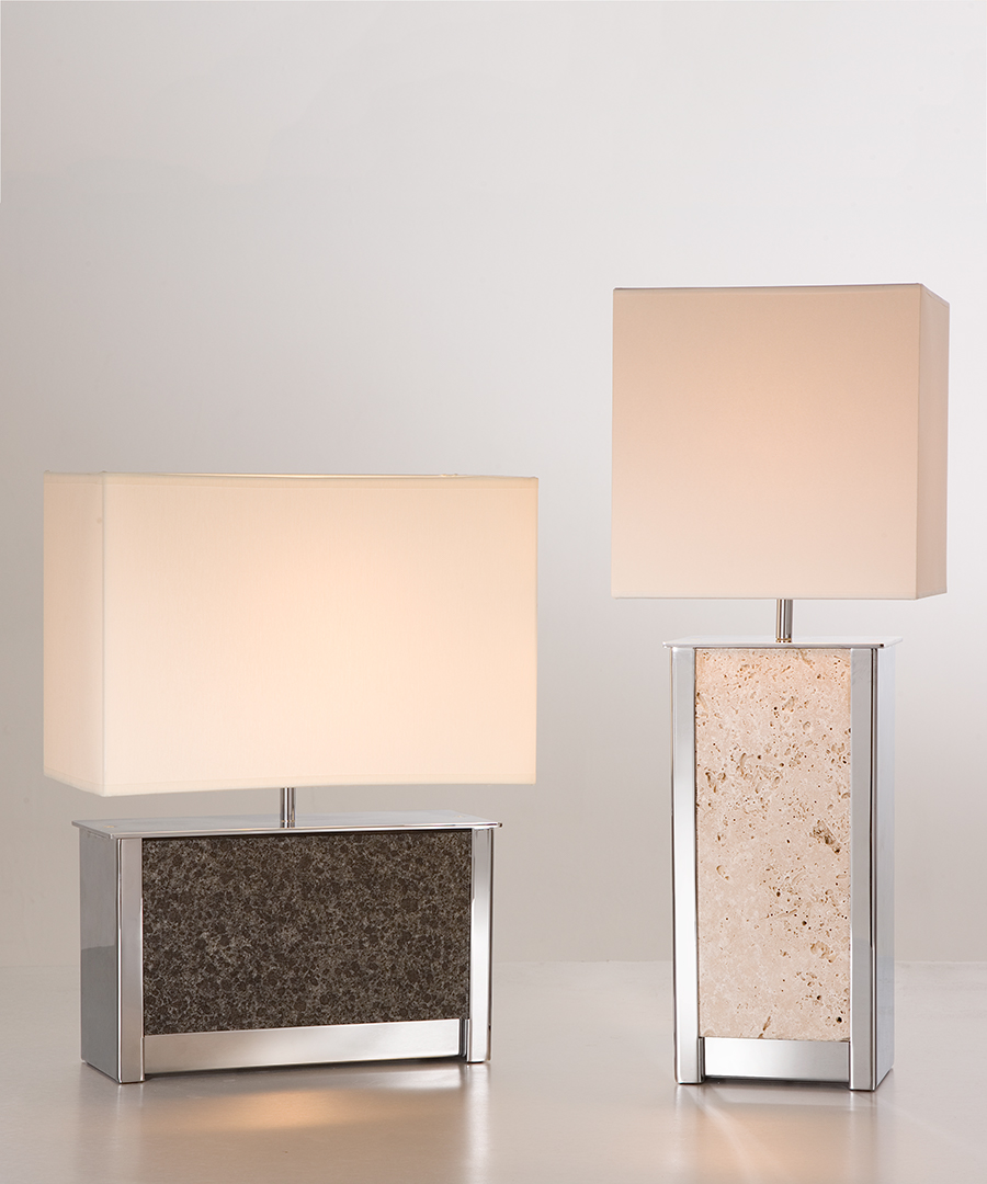 Vienna table lights - pair, tall and wide table lamps in chrome plated steel and stone panels - Chad Lighting