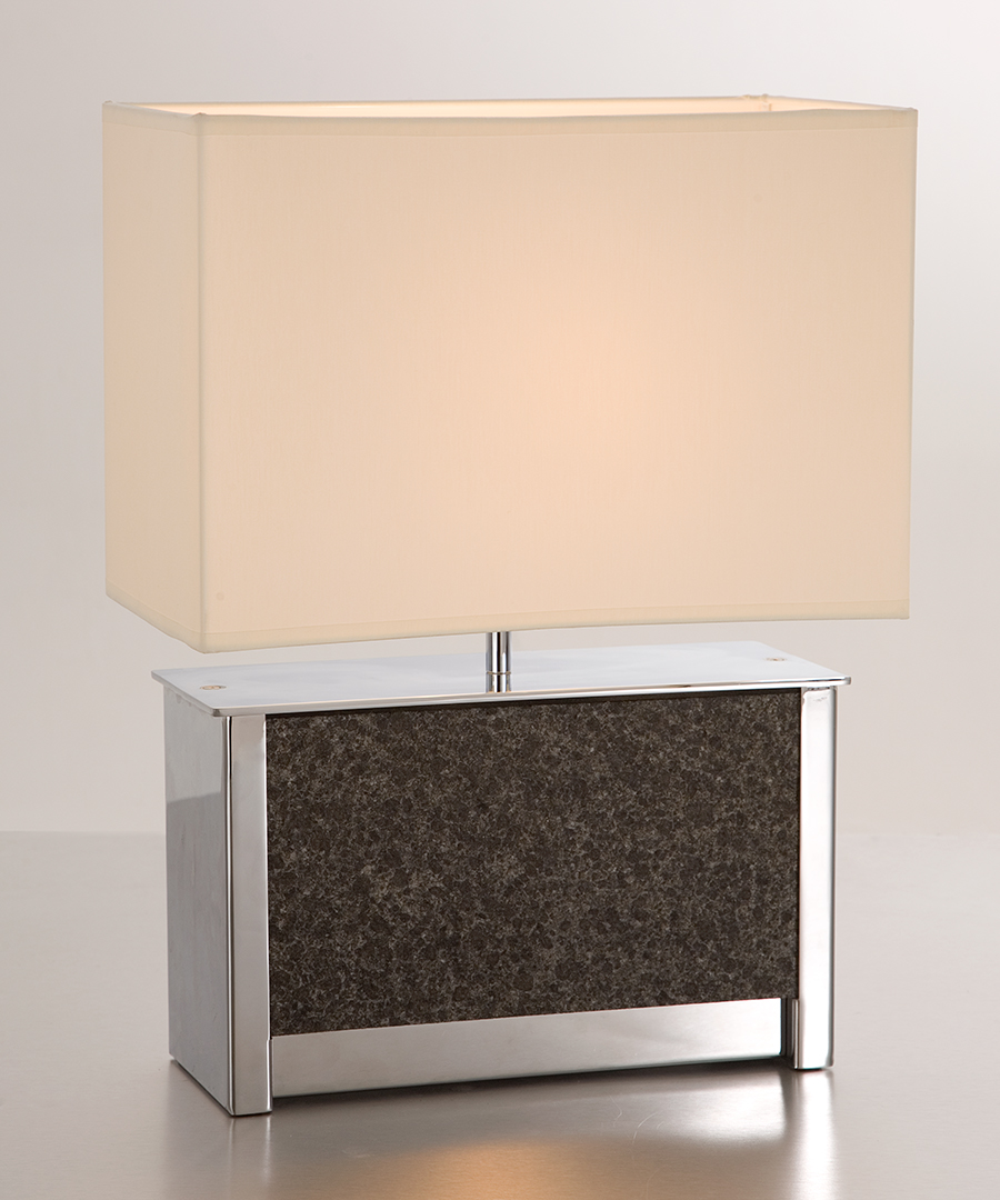 Vienna table light - wide, table lamp in chrome plated steel and a slate stone panel with a cream shade - Chad Lighting