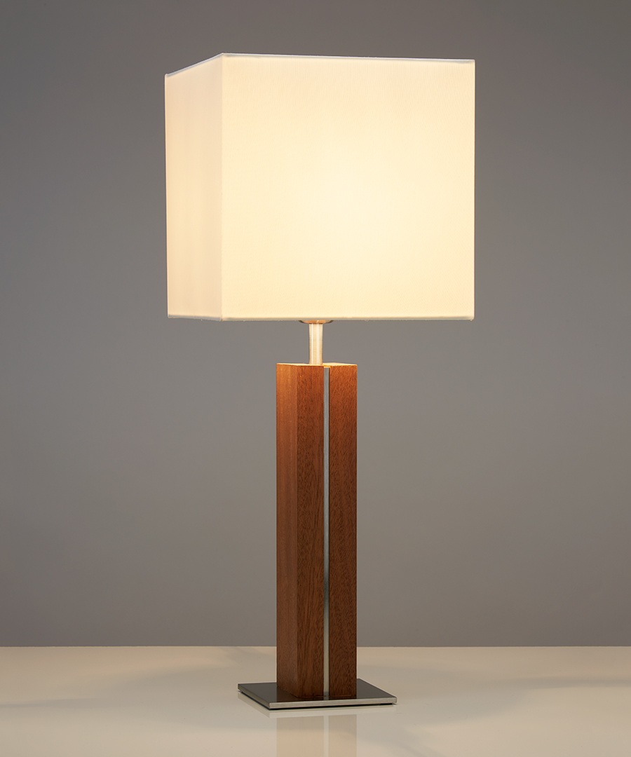 Panino table light, table lamp featuring walnut and brushed nickel with a square ivory shade - Chad Lighting