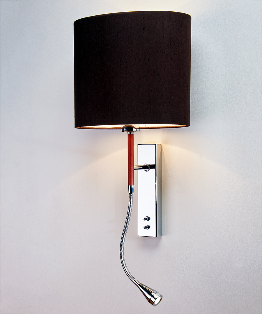Brera wall light, bedside wall and LED reading light in leather and chrome with a chocolate elliptical shade - Chad Lighting