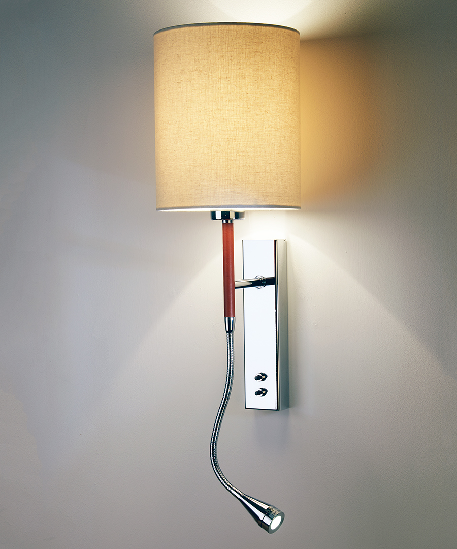 Brera wall light, bedside wall and LED reading light in leather and chrome with a calico shade - Chad Lighting