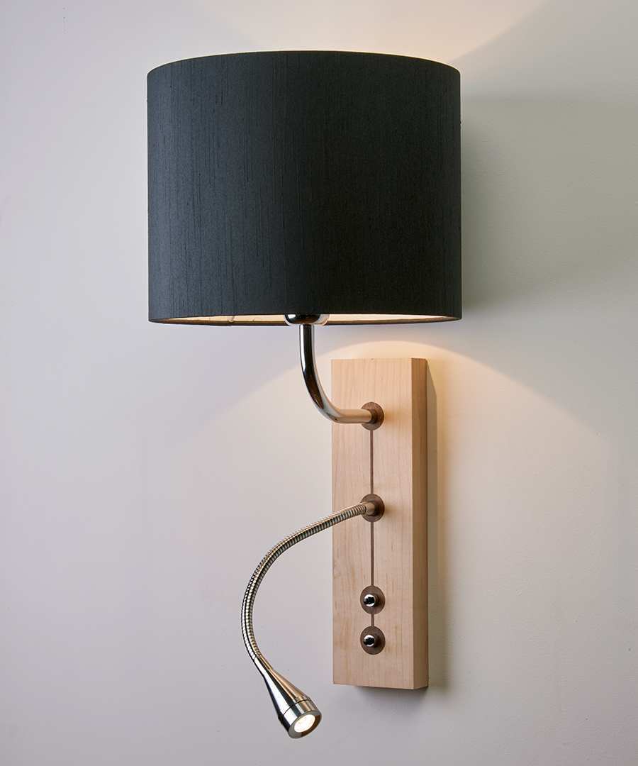 Domino wall light, wooden bedside wall and flexi reading light, maple finish with a charcoal shade - Chad Lighting