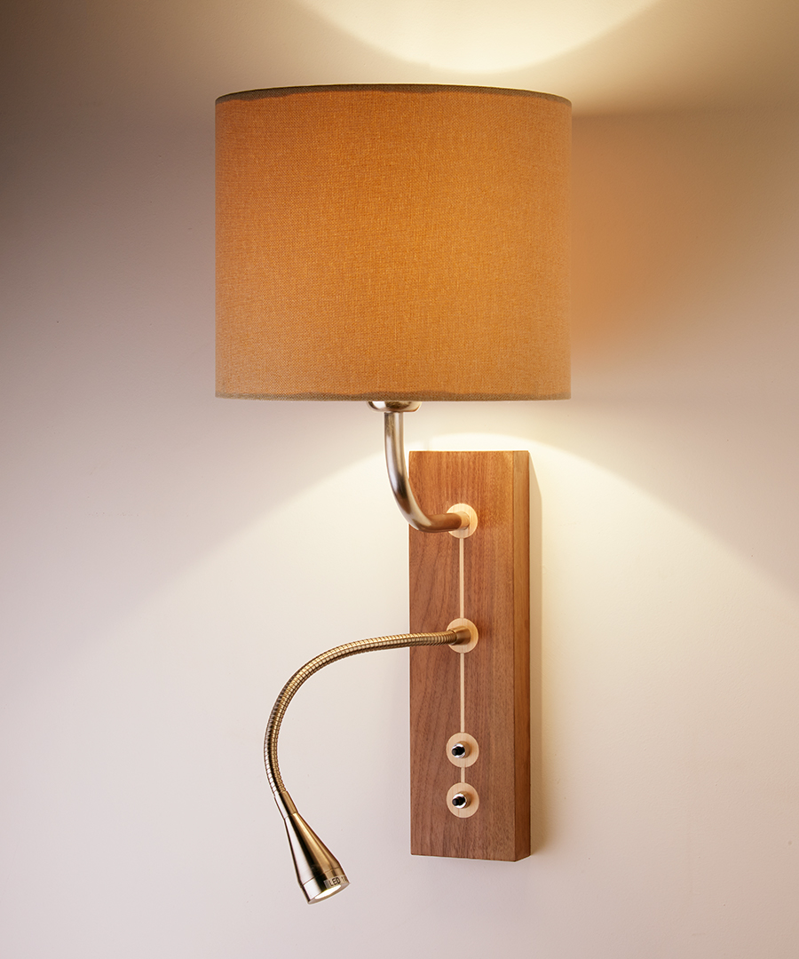 Domino wall light, wooden bedside wall and flexi reading light, walnut finish with a linen shade - Chad Lighting