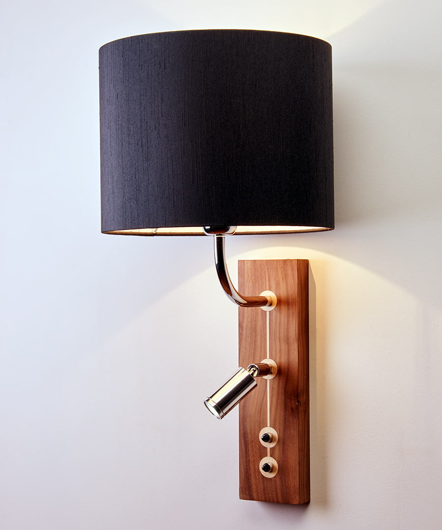 Domino wall light, wooden bedside wall and short reading light, walnut finish with a charcoal shade - Chad Lighting