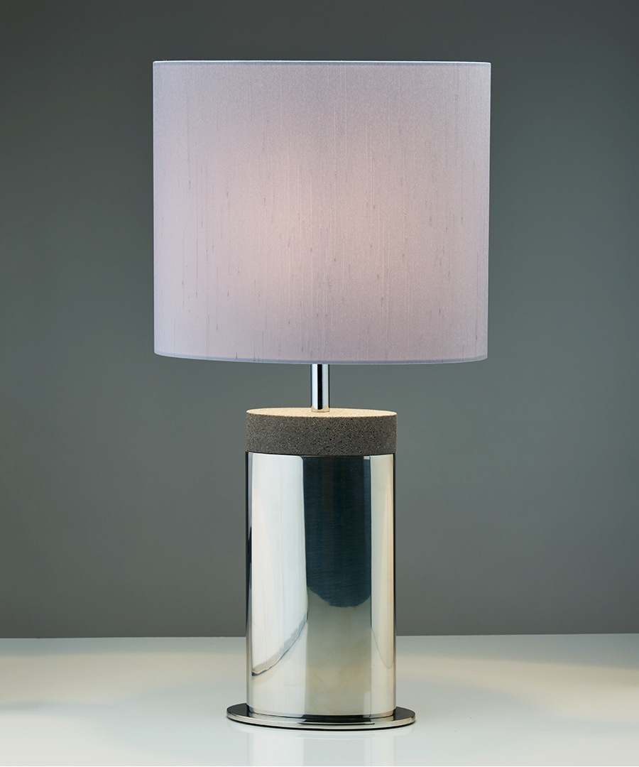 Miami table light, table lamp in stainless steel and dark sand top with a gunmetal shade - Chad Lighting