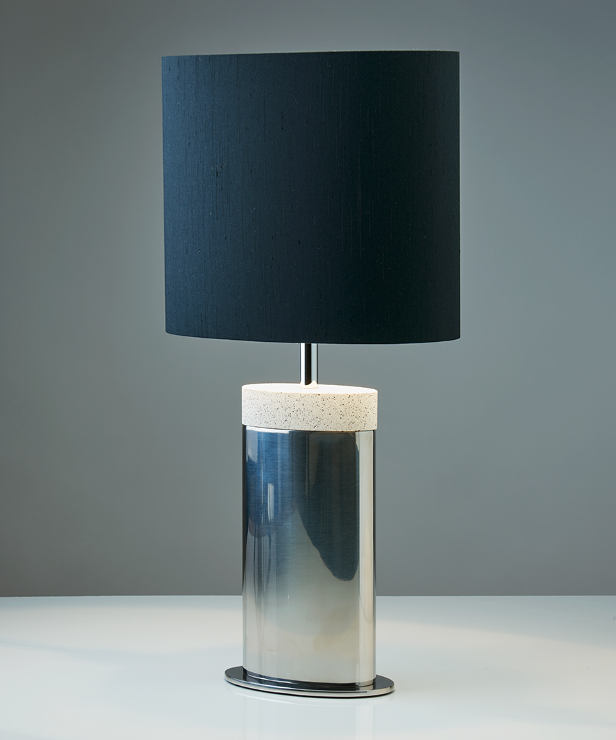 Miami table light, table lamp in stainless steel and light sand top with a black shade - Chad Lighting