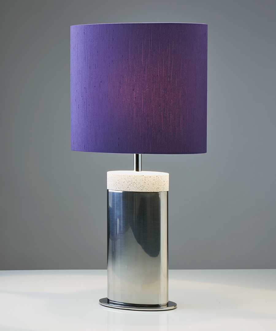 Miami table light, table lamp in stainless steel and light sand top with a grape shade - Chad Lighting