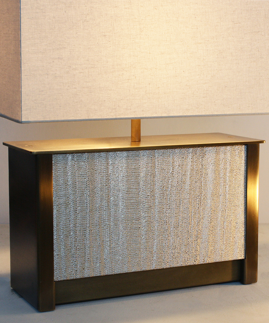 Vienna table light - wide, table lamp in antique brass and an Arte fabric panel with a cream shade - Chad Lighting