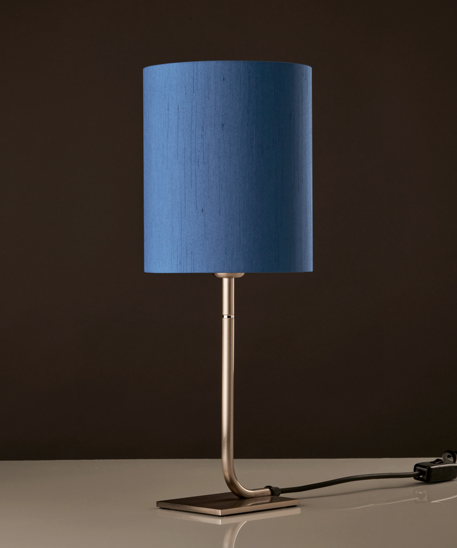 Iona - Table Lamp, Brushed Nickel with Ocean Blue Shade - Chad Lighting
