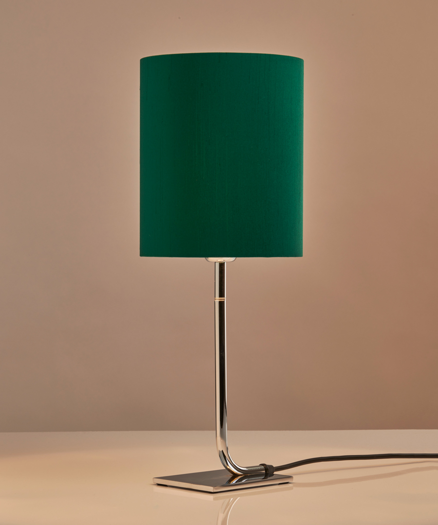 Iona - Table Lamp, Chrome with Bottle Green Shade - Chad Lighting