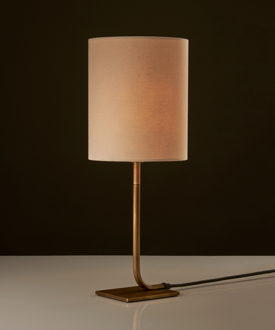 Iona - Table Lamp, Antique Brass with Calico Shade - Chad Lighting