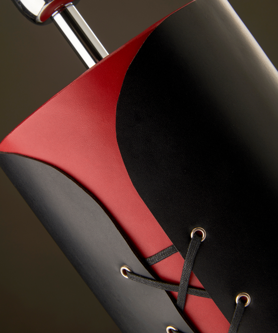 Tunic - Table Lamp, Black and Red Leather Close-Up Shot - Chad Lighting