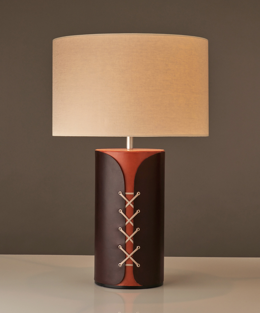 Tunic - Table Lamp, Chocolate and Tan Leather - Chad Lighting